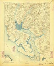 Wicomico, Maryland 1895 (1895) USGS Old Topo Map 15x15 Quad
