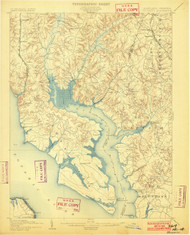 Wicomico, Maryland 1902 (1902) USGS Old Topo Map 15x15 Quad