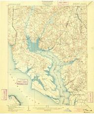 Wicomico, Maryland 1902 (1905) USGS Old Topo Map 15x15 Quad