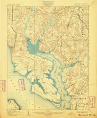 Wicomico, Maryland 1902 (1907) USGS Old Topo Map 15x15 Quad