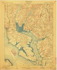 Wicomico, Maryland 1902 (1911) USGS Old Topo Map 15x15 Quad