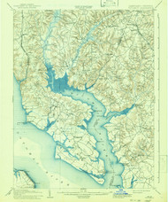 Wicomico, Maryland 1914 (1941) USGS Old Topo Map 15x15 Quad