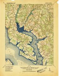 Wicomico, Maryland 1920 (1920) USGS Old Topo Map 15x15 Quad