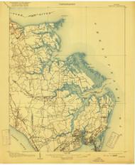 Hampton, Virginia 1907 (1916) USGS Old Topo Map 15x15 Quad