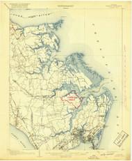Hampton, Virginia 1907 (1918) USGS Old Topo Map 15x15 Quad