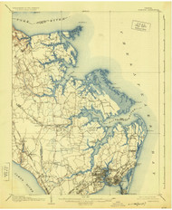 Hampton, Virginia 1907 (1925) USGS Old Topo Map 15x15 Quad