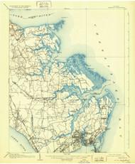 Hampton, Virginia 1907 (1931) USGS Old Topo Map 15x15 Quad