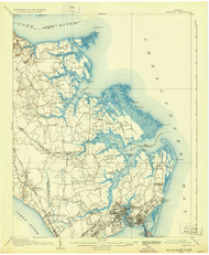 Hampton, Virginia 1907 (1932) USGS Old Topo Map 15x15 Quad