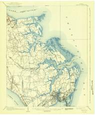 Hampton, Virginia 1907 (1942) USGS Old Topo Map 15x15 Quad