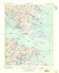 Kilmarnock, Virginia 1916 (1956) USGS Old Topo Map 15x15 Quad