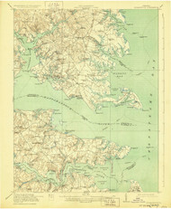 Kilmarnock, Virginia 1917 (1929) USGS Old Topo Map 15x15 Quad