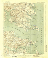 Kilmarnock, Virginia 1917 (1942) USGS Old Topo Map 15x15 Quad