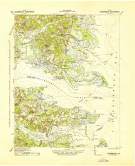 Kilmarnock, Virginia 1942 (1942) USGS Old Topo Map 15x15 Quad