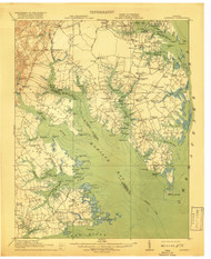 Mathews, Virginia 1917 (1919) USGS Old Topo Map 15x15 Quad