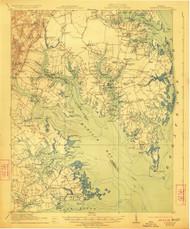 Mathews, Virginia 1917 (1923) USGS Old Topo Map 15x15 Quad