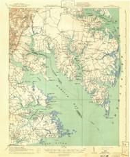 Mathews, Virginia 1917 (1941) USGS Old Topo Map 15x15 Quad