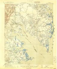 Mathews, Virginia 1917 (1944) USGS Old Topo Map 15x15 Quad