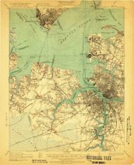 Newport News, Virginia 1921 (1921b) USGS Old Topo Map 15x15 Quad
