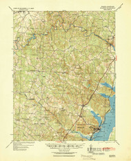 Quantico, Virginia 1940 (1943) USGS Old Topo Map 15x15 Quad