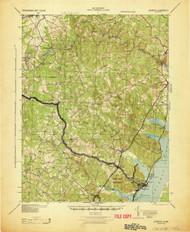 Quantico, Virginia 1943 (1943) USGS Old Topo Map 15x15 Quad