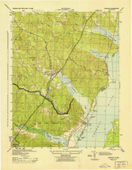 Quantico, Virginia 1944 (1944) USGS Old Topo Map 15x15 Quad