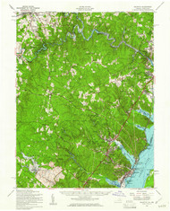 Quantico, Virginia 1957 (1961) USGS Old Topo Map 15x15 Quad