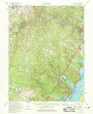 Quantico, Virginia 1957 (1969) USGS Old Topo Map 15x15 Quad