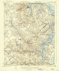 Smithfield, Virginia 1919 (1938) USGS Old Topo Map 15x15 Quad