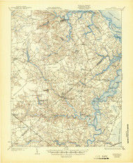 Smithfield, Virginia 1919 (1944) USGS Old Topo Map 15x15 Quad