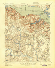 Surry, Virginia 1919 (1945) USGS Old Topo Map 15x15 Quad