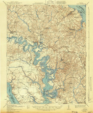 Toano, Virginia 1918 (1943) USGS Old Topo Map 15x15 Quad