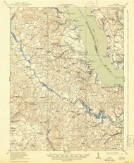 Urbanna, Virginia 1917 (1944) USGS Old Topo Map 15x15 Quad