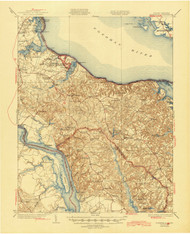 Wakefield, Virginia 1932 (1945) USGS Old Topo Map 15x15 Quad