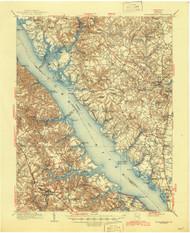 Williamsburg, Virginia 1906 (1945) USGS Old Topo Map 15x15 Quad