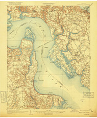 Yorktown, Virginia 1907 (1918) USGS Old Topo Map 15x15 Quad