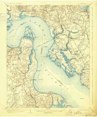 Yorktown, Virginia 1907 (1931) USGS Old Topo Map 15x15 Quad