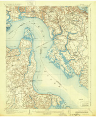 Yorktown, Virginia 1907 (1932) USGS Old Topo Map 15x15 Quad