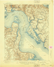 Yorktown, Virginia 1907 (1944) USGS Old Topo Map 15x15 Quad