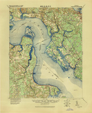 Yorktown, Virginia 1907 (1943) USGS Old Topo Map 15x15 Quad