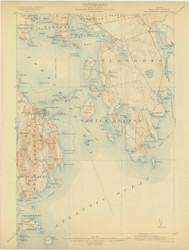 Bar Harbor, Maine 1904 (1904) USGS Old Topo Map 15x15 Quad