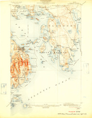 Bar Harbor, Maine 1904 (1909 a) USGS Old Topo Map 15x15 Quad