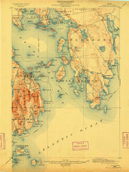 Bar Harbor, Maine 1904 (1909 b) USGS Old Topo Map 15x15 Quad