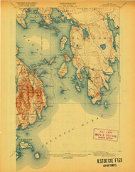 Bar Harbor, Maine 1904 (1920) USGS Old Topo Map 15x15 Quad