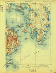 Bar Harbor, Maine 1904 (1932) USGS Old Topo Map 15x15 Quad