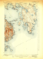 Bar Harbor, Maine 1942 b (1942 b) USGS Old Topo Map 15x15 Quad