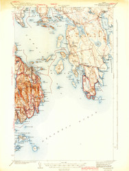 Bar Harbor, Maine 1942 c (1942 c) USGS Old Topo Map 15x15 Quad