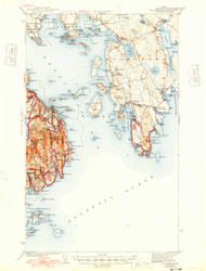 Bar Harbor, Maine 1942 (1948) USGS Old Topo Map 15x15 Quad