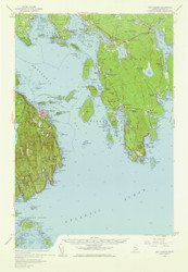 Bar Harbor, Maine 1956 (1960 a) USGS Old Topo Map 15x15 Quad