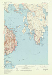 Bar Harbor, Maine 1956 (1960 b) USGS Old Topo Map 15x15 Quad