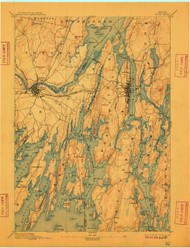Bath, Maine 1894 (1909) USGS Old Topo Map 15x15 Quad